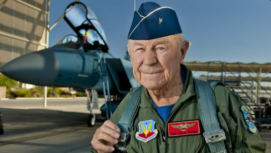 Brig Gen Charles Chuck Yeager prepares to board F-15D Eagle at Nellis Air Force Base to mark 65th anniversary of breaking sound barrier 14102012 CREDIT US DEPARTMENT OF DEFENSE .jpg