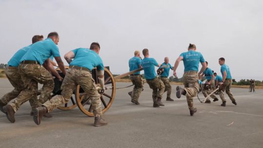 British Forces Cyprus Field Gun team practicing for the 2019 Brickwood Trophy competition Credit BFBS 310519