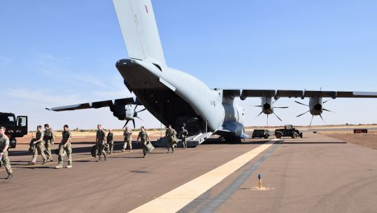 British troops disembark an aircraft upon arrival in Gao Mali as part of UN peacekeeping efforts (Picture: MOD).