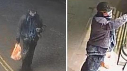 CCTV images of the suspect that Police believe vandalised the Bomber Command Memorial (Picture: Metropolitan Police).