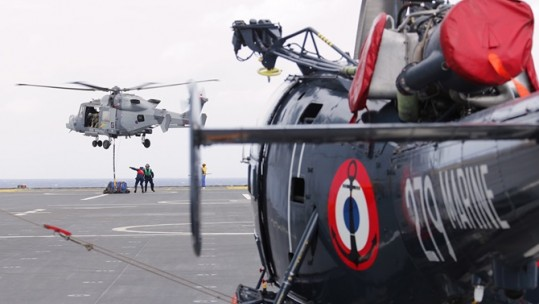 Royal Navy and French Navy helicopters in the Pacific