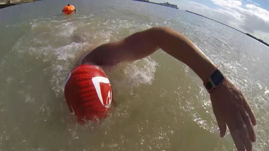 Captain Harry Grantham practises ahead of English Channel swim 270820 CREDIT BFBS