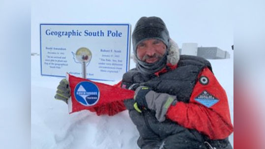 Captain Lou Rudd reaches the South Pole 141218 CREDIT British Army Twitter