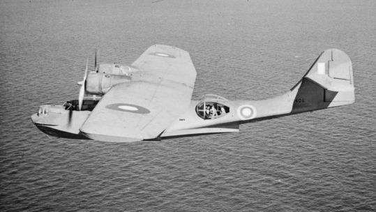 Catalina Mark I, W8406, of No. 4 (Coastal) Operational Training Unit on a training flight over the Irish Sea Black And White Credit IWM (CH 2455)