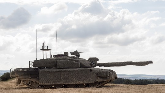 Challenger 2 fitted with a Mobile Camouflage System CREDIT MoD