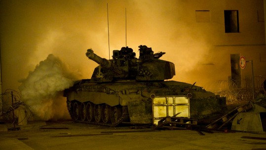 A Challenger 2 main battle tank during Exercise Urban Warrior