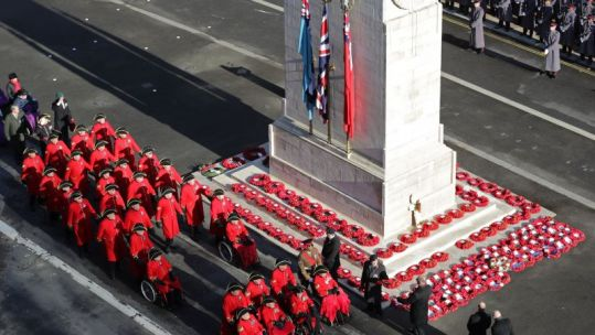 Chelsea Pensioners march past Cenotaph on Remembrance Sunday 101119 CREDIT MOD