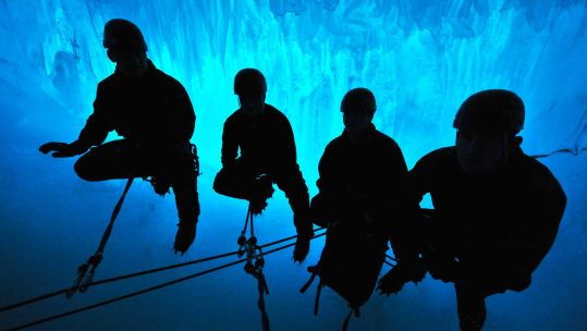 Royal Marines ice climbing in the Antarctica (Picture: MOD).