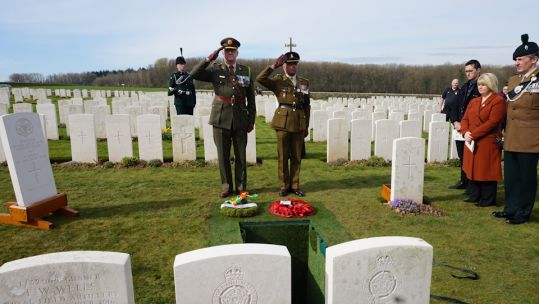 Colonel Des Bergin representing the Irish Embassy and Lieutenant Colonel Ret'd Dominic Hancock of the British Embassy lay wreaths at the graveside 210319 CREDIT MOD.jpg