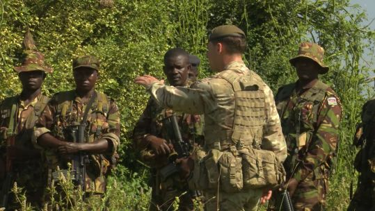 Members of the British Peace Support Team training troops in Kenya