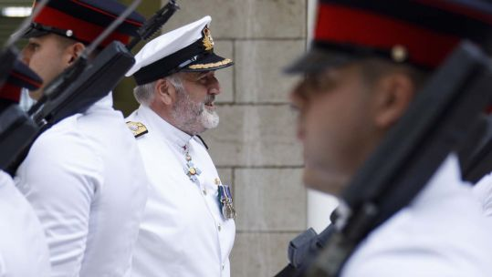 Cover image: Commodore Steve Dainton during the socially-distanced supersession ceremony (Picture: Royal Navy).