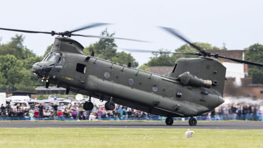 Cover image: A Chinook at the RAF Cosford Air Show in 2019 (Picture: Crown Copyright).
