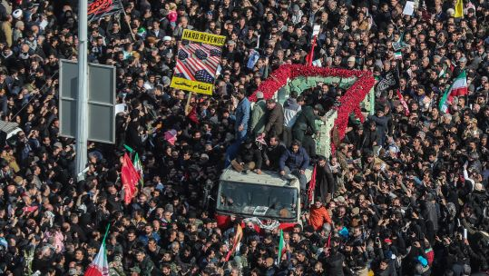 Crowds during funeral of Qassem Soleimani and Abu Mahdi al-Mohandes in Tehran
