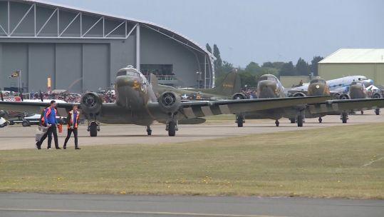 Dakota aircraft gather at IWM Duxford.