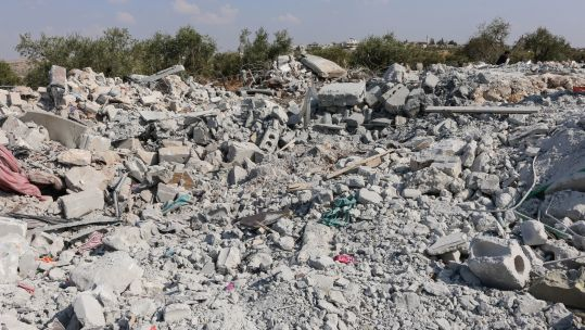 Debris of a house following an alleged US-raid on Syrian village of Barisha, after reports Abu Bakr al-Baghdadi died in the outskirts of the village