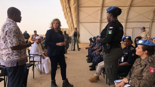 Defence Secretary Penny Mordaunt in Mali CREDIT MOD