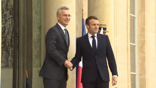 Emmanuel Macron with Jens Stoltenberg in Paris 281119 CREDIT NATO TV 2 .jp