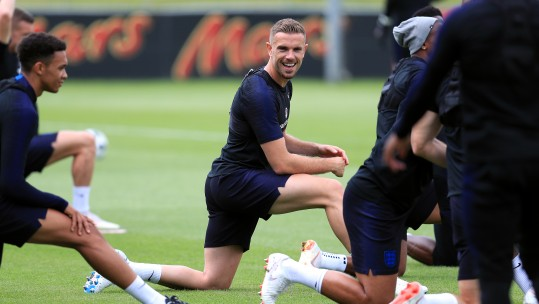 England's Jordan Henderson with team-mates at St George's Park pre-World Cup