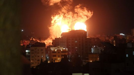 Cover images: Explosions following Israeli airstrikes in Gaza City (Photo: Yasser Qudih / Xinhua / Alamy Live News).