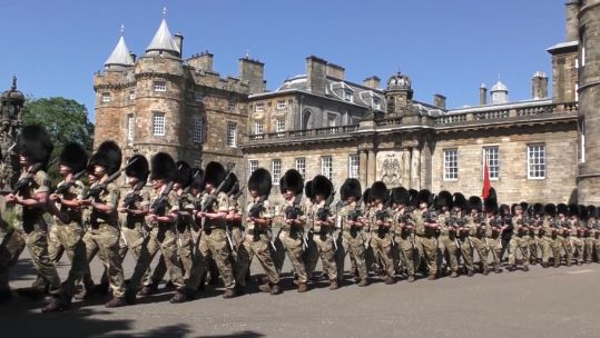 F Company The Scots Guards prepare for royal ceremonial duties.