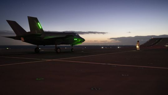 F-35 jet sits on the runway on board HMS Queen Elizabeth (Picture: MOD).