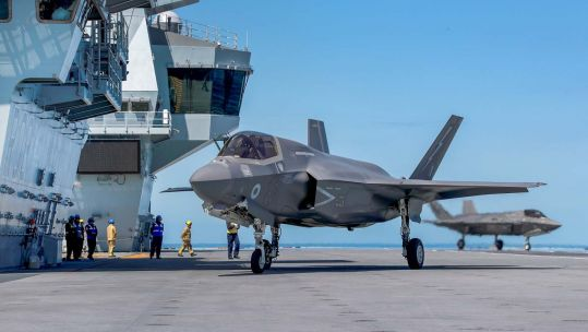 A UK F-35 jet on board HMS Queen Elizabeth for the first time (Picture: Royal Navy).