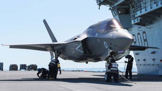 F-35B being fastened on HMS Queen Elizabeth for first Carrier Sea Training (Picture: Royal Navy).