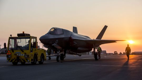 F-35B taxiing on RAF Akrotiri runway (Picture: MOD).