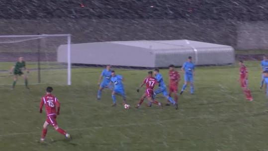 RAF football win vs Tamworth FC in the snow