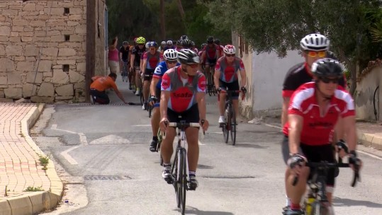Military and civilians taking part in the Cyprus Cycling Race