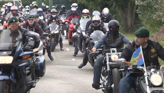 Military motorcyclists at Mark Fincham funeral