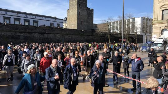 Families of Bloody Sunday victims arrive at the Londonderry's Guildhall to hold the press conference 140319 SOURCE Forces News.