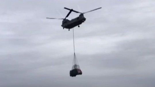 Fire Truck Airlifted By Chinook