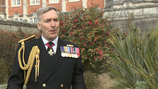 First Sea Lord Tony Radakin Paying tribute to Prince Philip 12042021 CREDIT BFBS