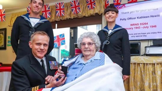 Former PO Kathleen Blower receives WW2 medal in Portsmouth Credit Barry Swainsbury Royal Navy