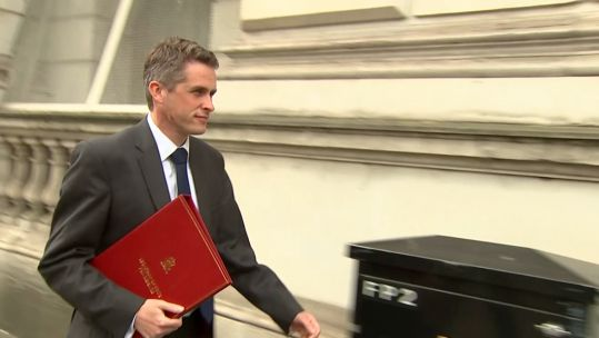 Gavin Williamson makes his way into Downing Street.
