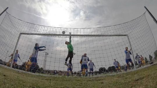 Goalline view of inter RAF football.