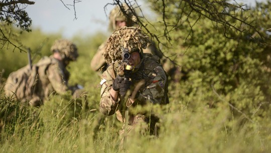 Grenadier Guards armed with SA-80's taking part in Exercise Noble Jump 17