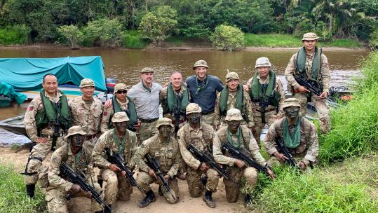 Paddy McGuinness and Freddie Flintoff and the Gurkha Boat Unit in Brunei for Top Gear