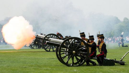 Gun salutes for the Queen's 93rd birthday (British Army).