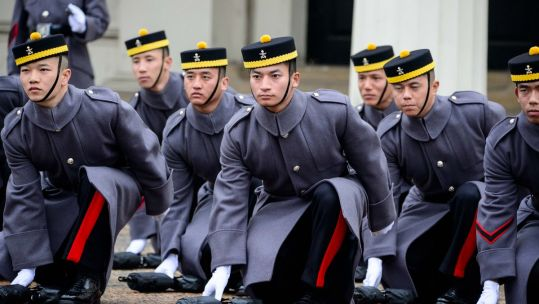 Gurkha Engineers mounting first Queen's guard at Buckingham Palace