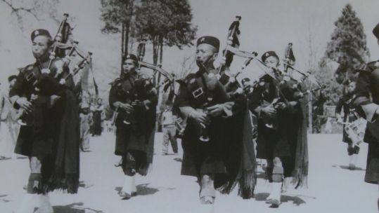 Gurkhas with bagpipes, Between Two Worlds Exhibition, 130819 CREDIT BFBS