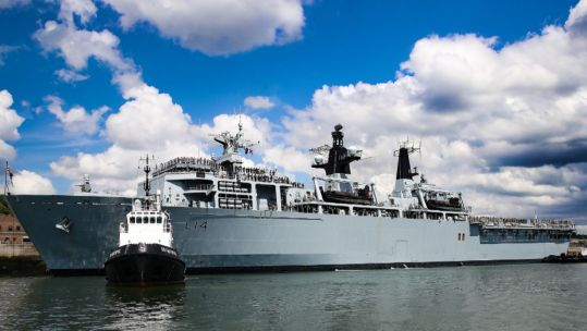 HMS Albion about to leave port for Baltic Protector (Picture: Royal Navy).