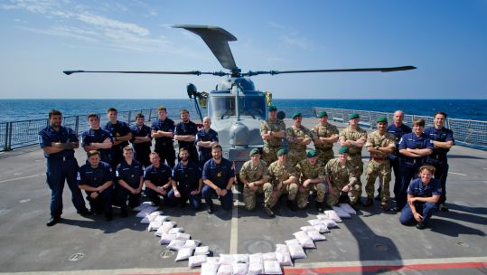 HMS Dragon Crew with Heroin Seized 220219 CREDIT Royal Navy