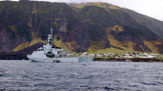 Cover image: HMS Forth delivering the vaccines to Tristan da Cunha (Picture: MOD).