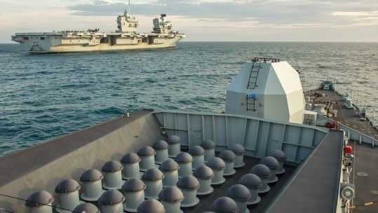 HMS Kent and HMS Queen Elizabeth together during training at sea (Royal Navy).