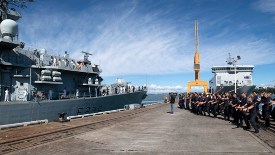 HMS Montrose Receives Ceremonial Greeting On Entering New Zealand Credit Royal NZ Navy