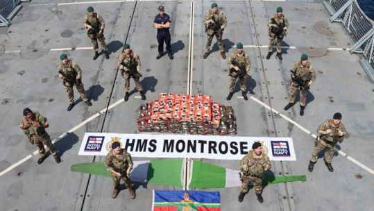 HMS Montrose crew with 450kg methamphetamine bust from the Arabian Sea