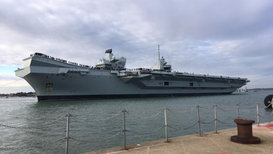HMS Queen Elizabeth on her return from the US in December 2018.