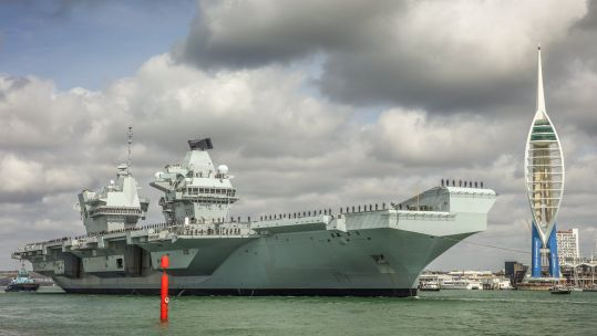 HMS Queen Elizabeth passes the Spinnaker Tower 300819 CREDIT ROYAL NAVY